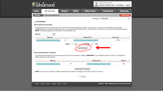 Select 'Add Forwarder' Under 'Forwarders'
