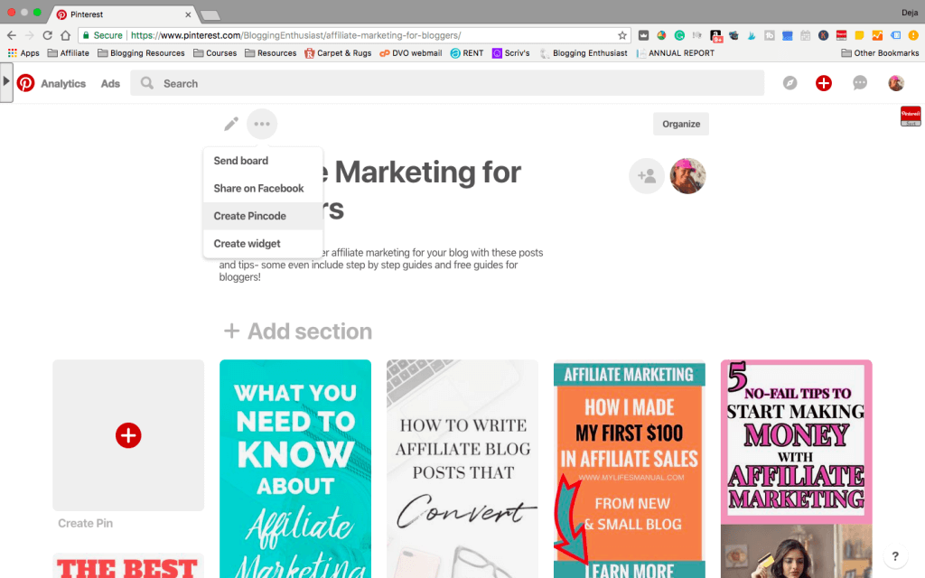 Pinterest pin code creation for group board