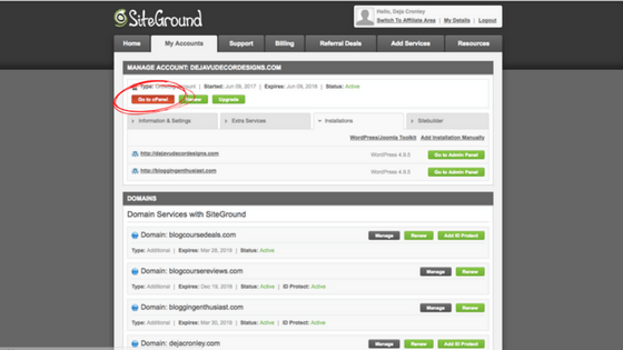 Siteground my accounts page to select cPanel
