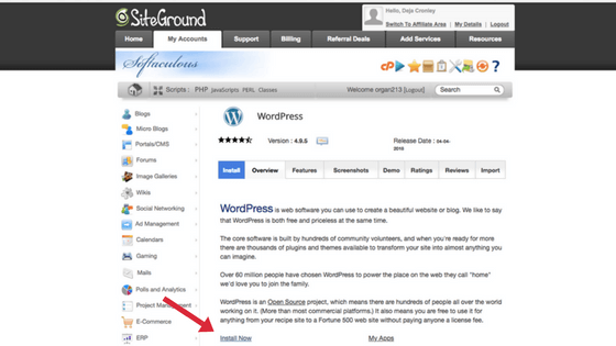 page for wordpress install on Siteground
