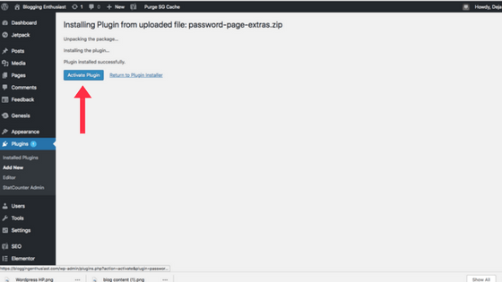 Activating wordpress plugin